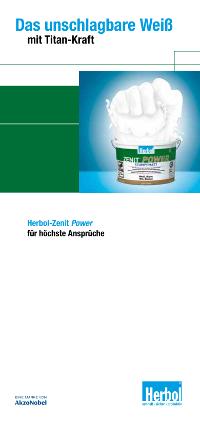 """Broschüre: """"Produktflyer: """"Zenit Power – das unschlagbare Weiß"""""""